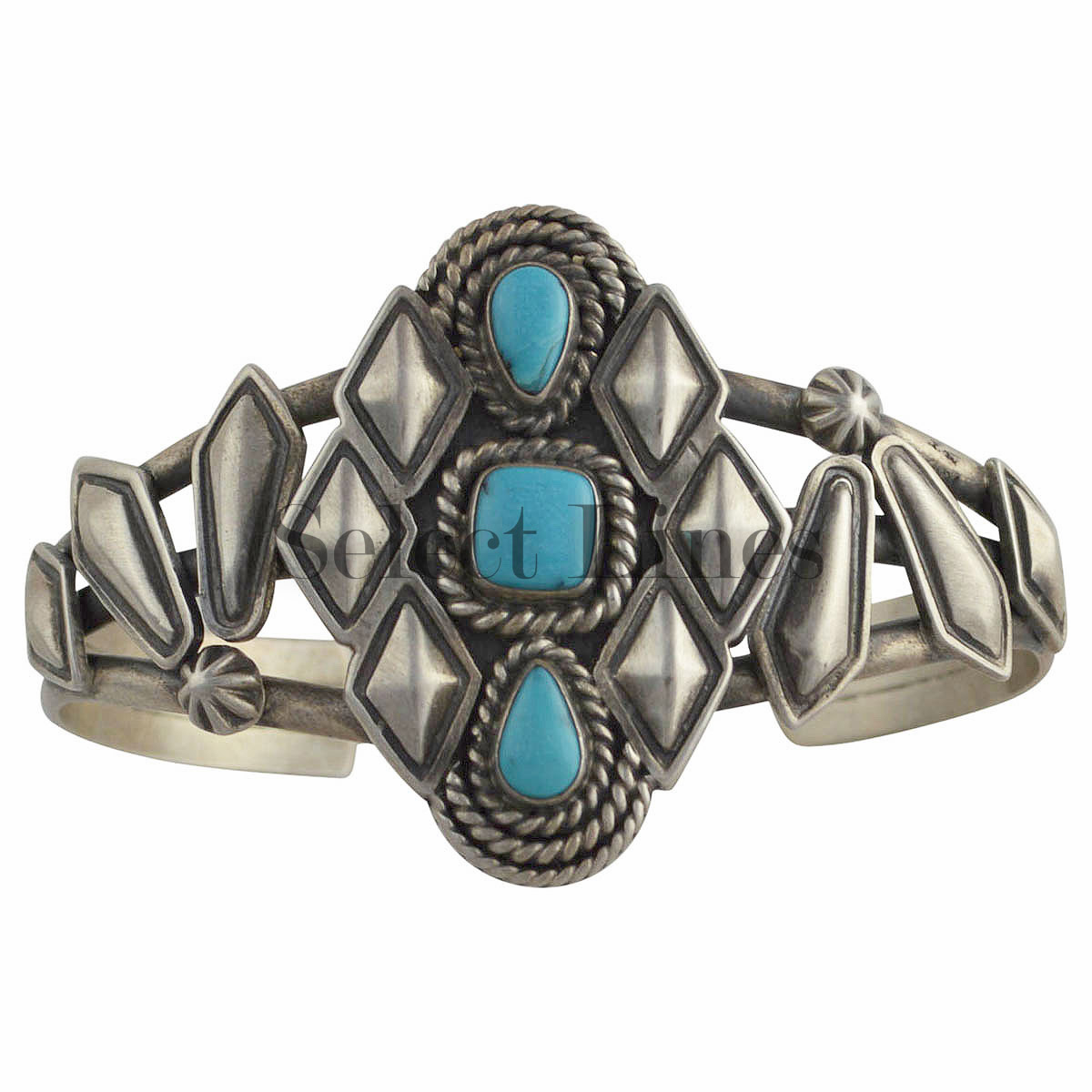 Sterling silver turquoise navajo bracelet native american for Southwestern silver turquoise jewelry