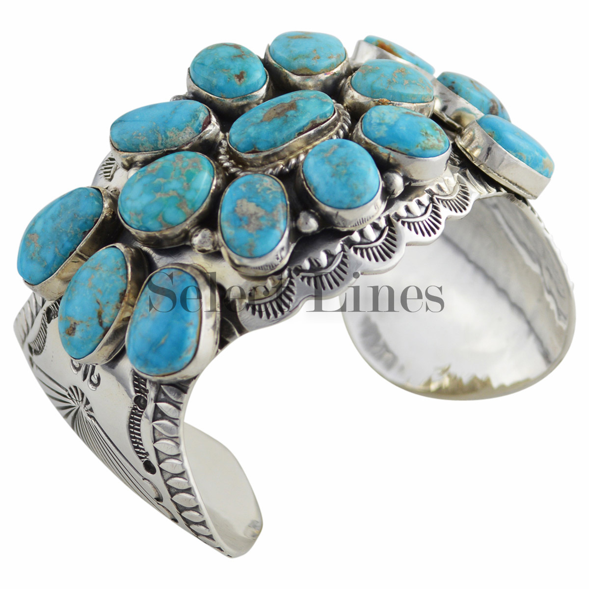 Sterling silver turquoise cluster bracelet navajo native for Southwestern silver turquoise jewelry