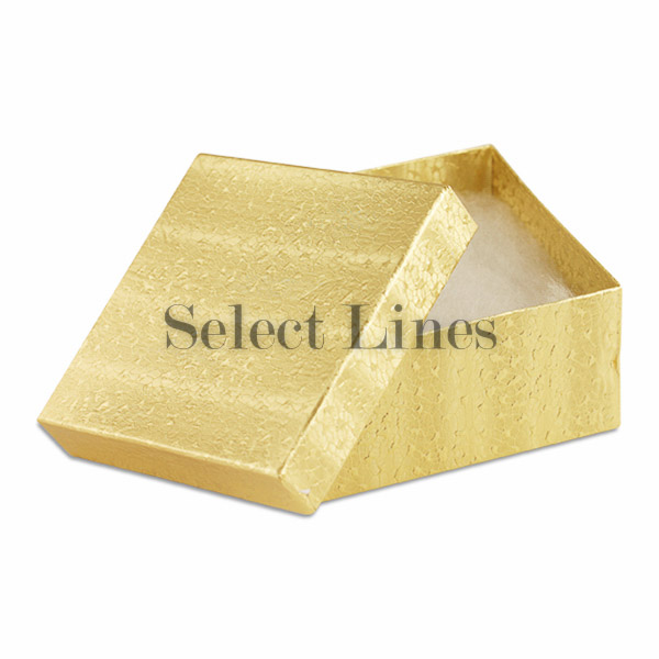 100 Pcs Gold Cotton Filled Jewelry Gift Boxes 3x3x2