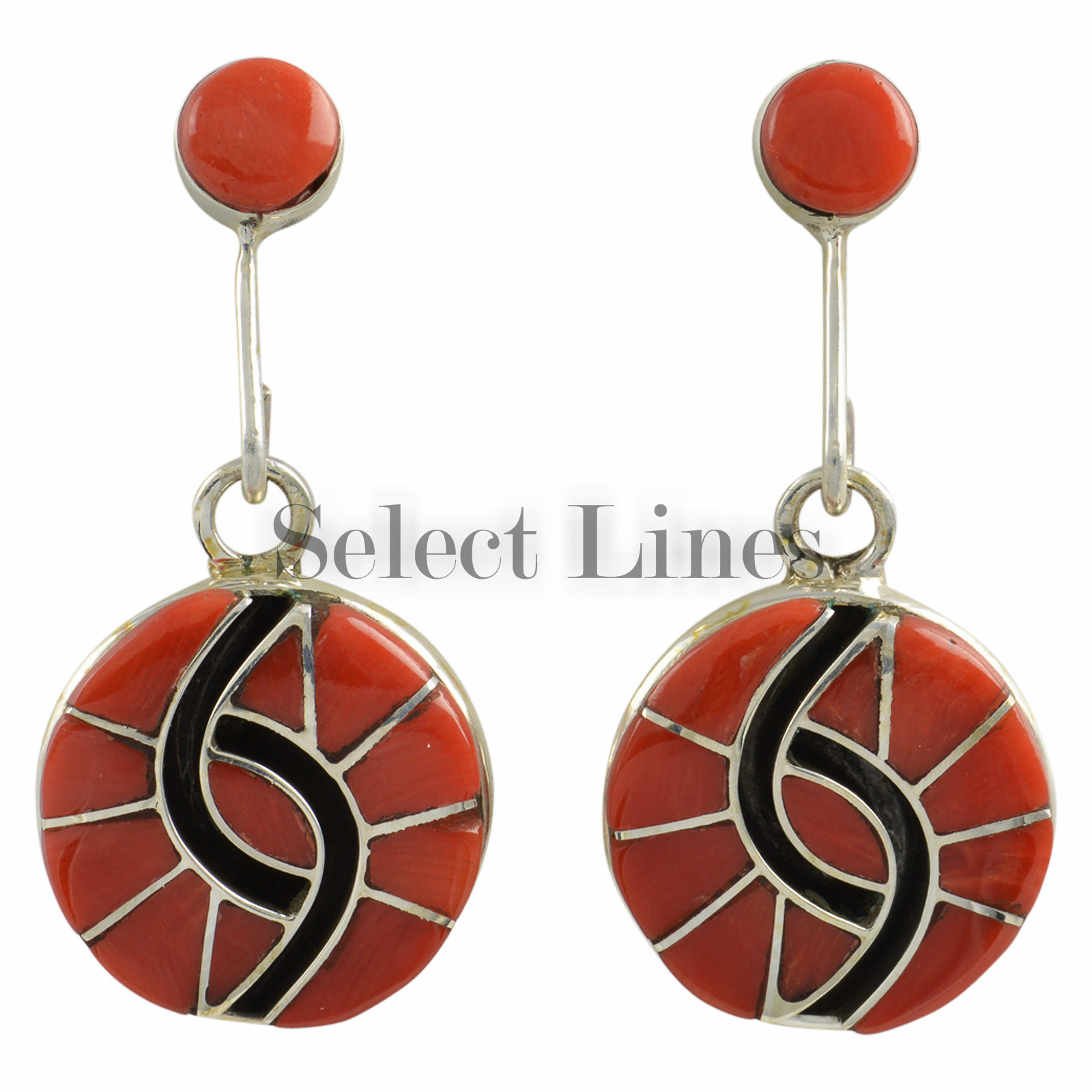 amy wesley sterling silver coral inlay earrings zuni ebay