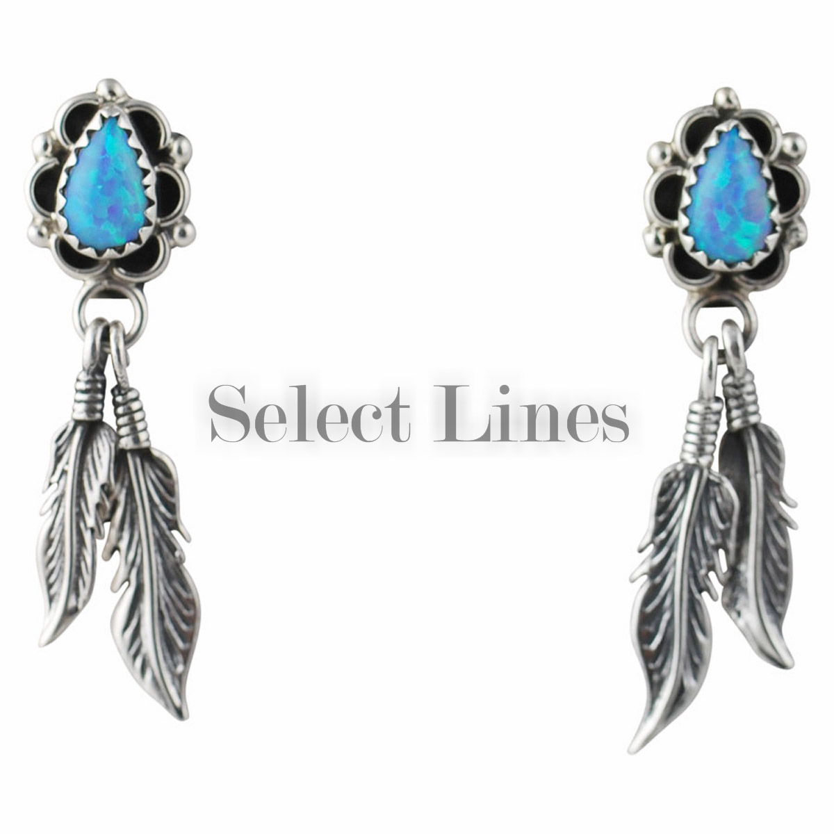 Sterling silver blue opal feather earrings navajo native for Native american feather jewelry