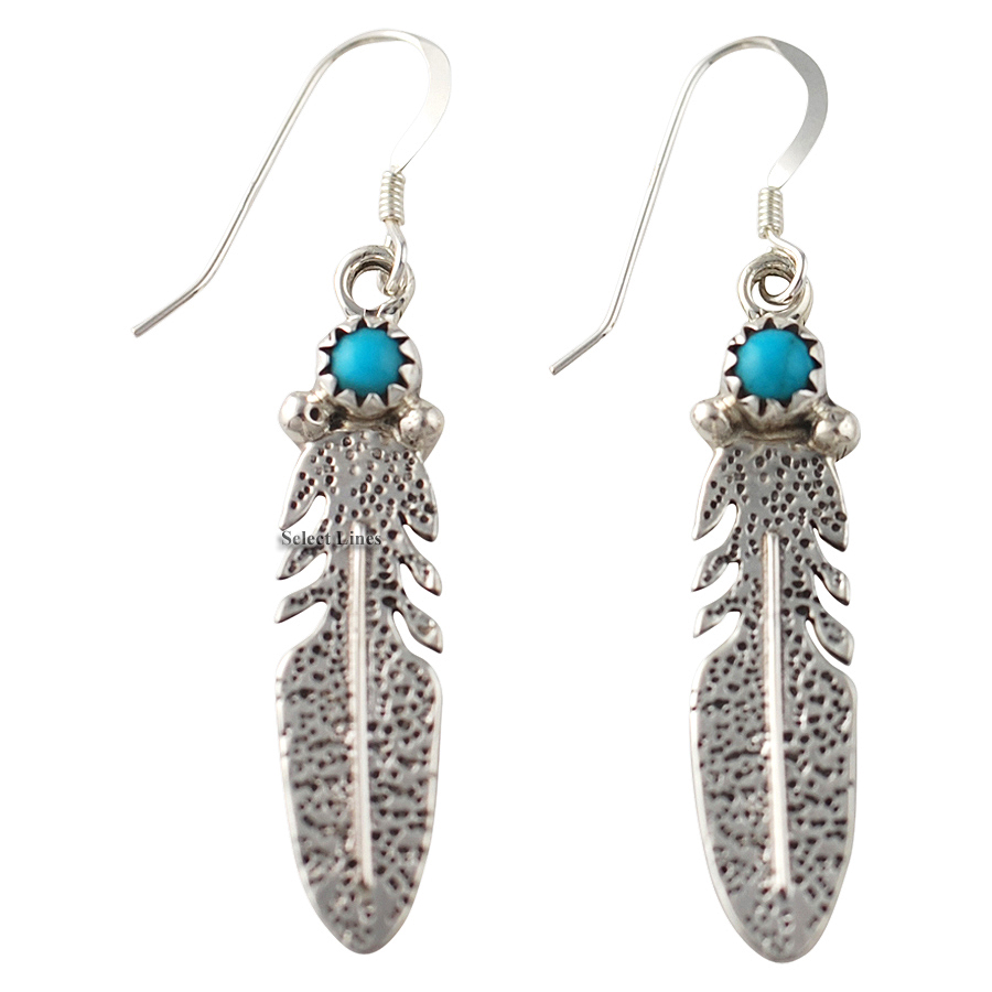 Turquoise feather earrings sterling silver navajo native for Native american feather jewelry