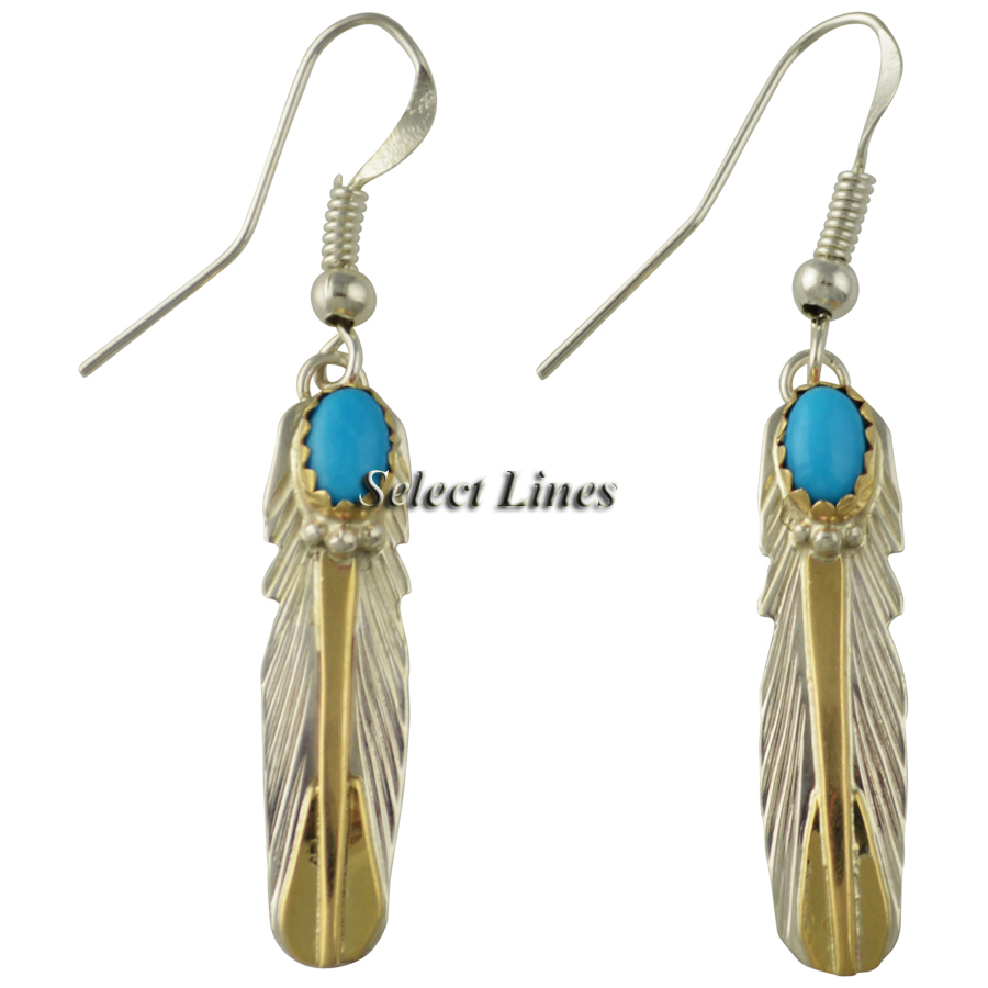 Feather Jewelry: Virginia Becenti Sterling Silver Turquoise Navajo Feather
