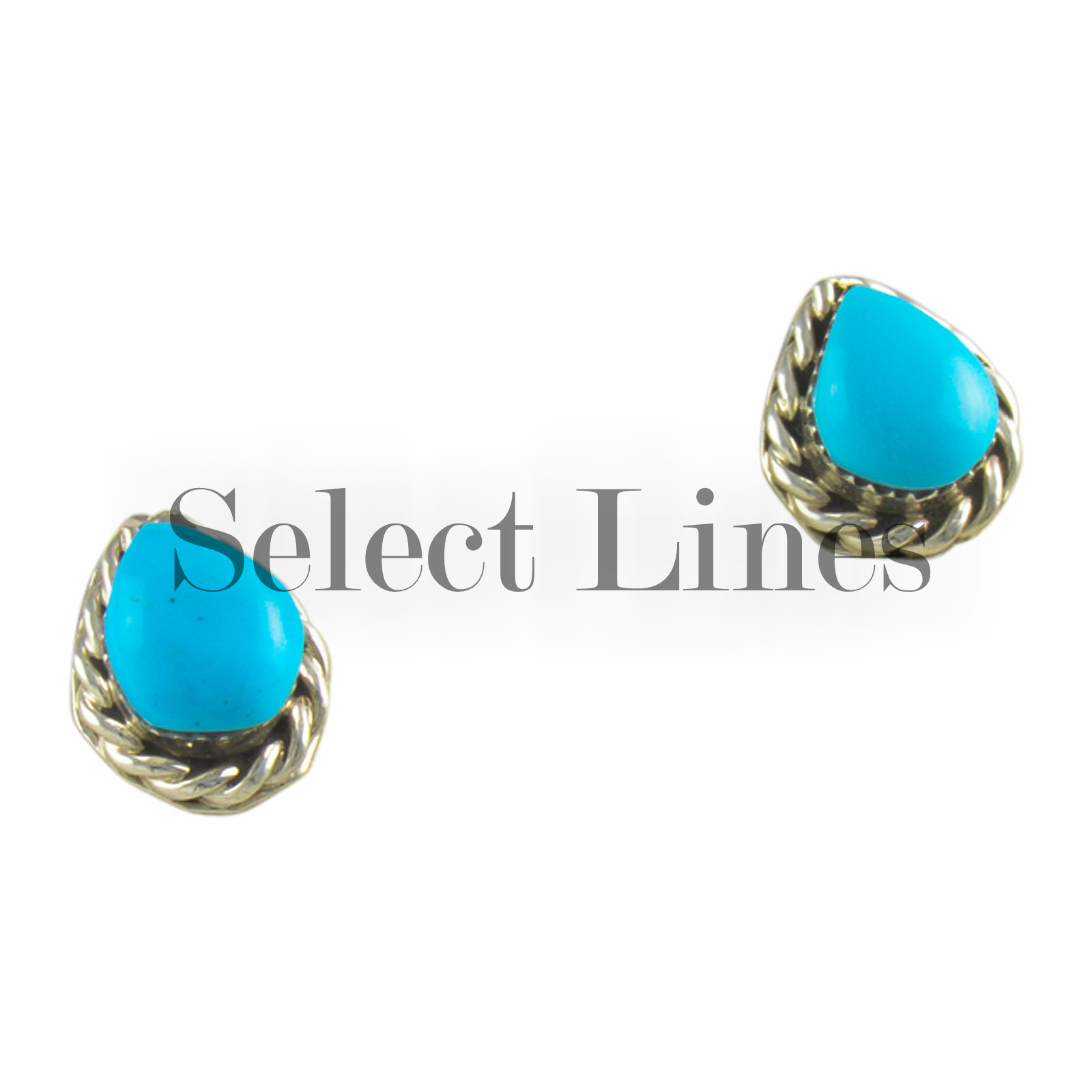 Image Is Loading Sterling Silver Twisted Tear Drop Turquoise Stud Native