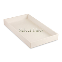 """White Faux Leather Standard 1.5""""H Utility Jewelry Display Tray"""