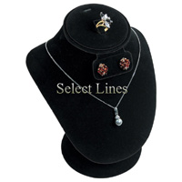 """Black Velvet 8""""H Necklace Earring & Ring Bust Jewelry Display Stand Forms"""