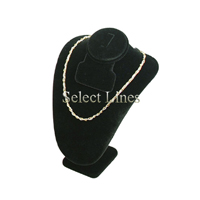 """Black Velvet 7.5""""H Necklace Earring & Ring Bust Small Jewelry Display Stand Forms"""