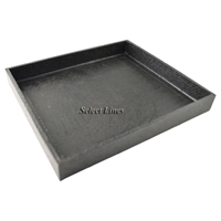 """Black Faux Leather Half Size 1""""H Utility Jewelry Display Tray"""