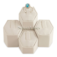 White Faux Leather 4pc Ring Column Jewelry Stand Display Set