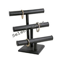 """Black Faux Leather 3 Tier Necklace Bracelet T-Bar 13""""H Jewelry Display Stand"""