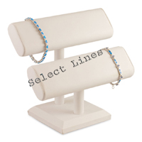 """White Faux Leather 2 Tier Bracelet Watch T-Bar 7""""H Jewelry Holder Display Stand"""
