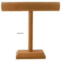 """Brown Velvet Necklace T-Bar 12""""H Jewelry Holder Display Stand Rack"""