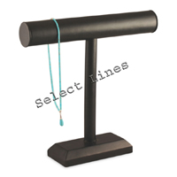 """Black Faux Leather Necklace T-Bar 12""""H Jewelry Holder Display Stand Rack"""