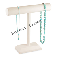 """White Faux Leather Necklace T-Bar 12""""H Jewelry Holder Display Stand Rack"""