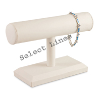 """White Faux Leather Bracelet Watch T-Bar 5""""H Jewelry Holder Display Stand Rack"""