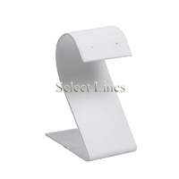 """White Faux Leather """"S"""" Earring Jewelry Display Stand 3.25""""H"""