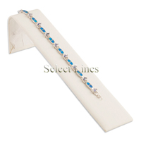 White Faux Leather Tennis Bracelet Ramp Jewelry Display