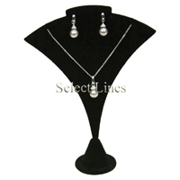 """Black Velvet Necklace Earring Stand Jewelry Display 7"""" H"""