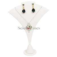 """White Faux Leather Necklace Earring Stand Jewelry Display 7"""" H"""