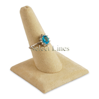 "Beige Velvet Finger 2.5"" H Ring Display Jewelry Stand"