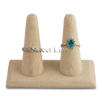 "Beige Velvet 2 Finger 2.5"" H Double Ring Display Jewelry Stand"