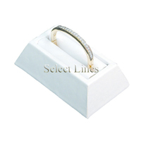 White Faux Leather Bangle Bracelet Slot Jewelry Display