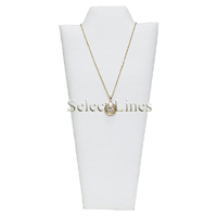 """White Faux Leather Necklace Easel Display 8.75""""H Jewelry Display Stand Forms"""