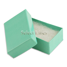 100 pcs Teal Blue Cotton Filled Jewelry Gift Boxes 2x1