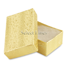 100 pcs Gold Cotton Filled Jewelry Gift Boxes 2x1