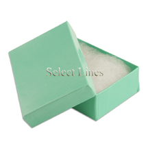 100 pcs Teal Blue Cotton Filled Jewelry Gift Boxes 3x2