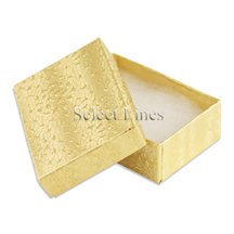 100 pcs Gold Cotton Filled Jewelry Gift Boxes 3x2
