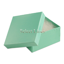 100 pcs Teal Blue Cotton Filled Jewelry Gift Boxes 3x3x2