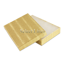 100 pcs Gold Cotton Filled Jewelry Gift Boxes 5x3