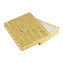 100 pcs Gold Cotton Filled Jewelry Gift Boxes 7x5