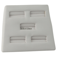 White Faux Leather 5 Ring Jewelry Display Stand