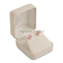 White Leather Earring Jewelry Gift Box
