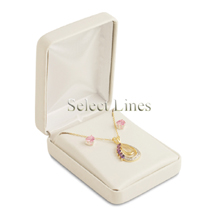 White Leather Pendant/Earring Jewelry Gift Box