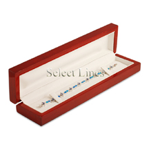 White Leather Rosewood Bracelet/Watch Jewelry Gift Box