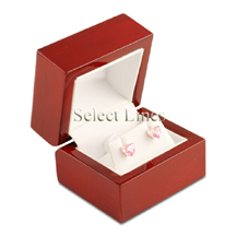 White Leather Rosewood Earring Jewelry Gift Box
