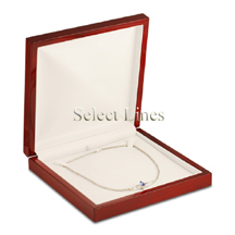 White Leather Rosewood Necklace Jewelry Gift Box