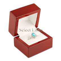 White Leather Rosewood Ring Jewelry Gift Box