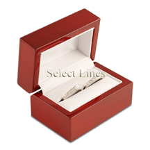 White Leather Rosewood Double Ring Jewelry Gift Box