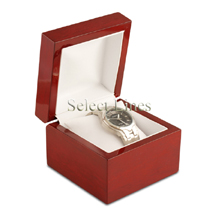 White Leather Rosewood Watch Pillow Jewelry Gift Box